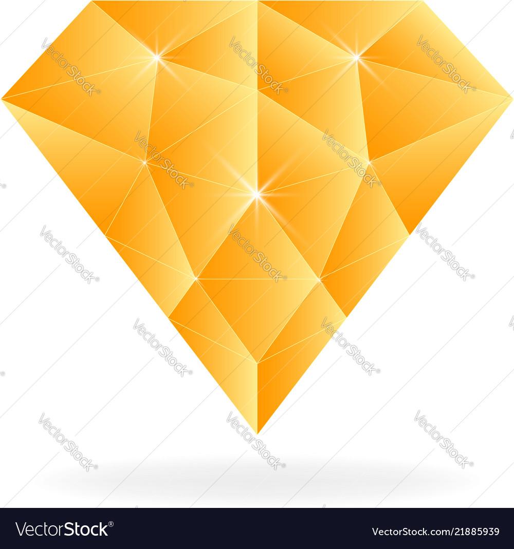 Gold diamond jewelry low poly symbol