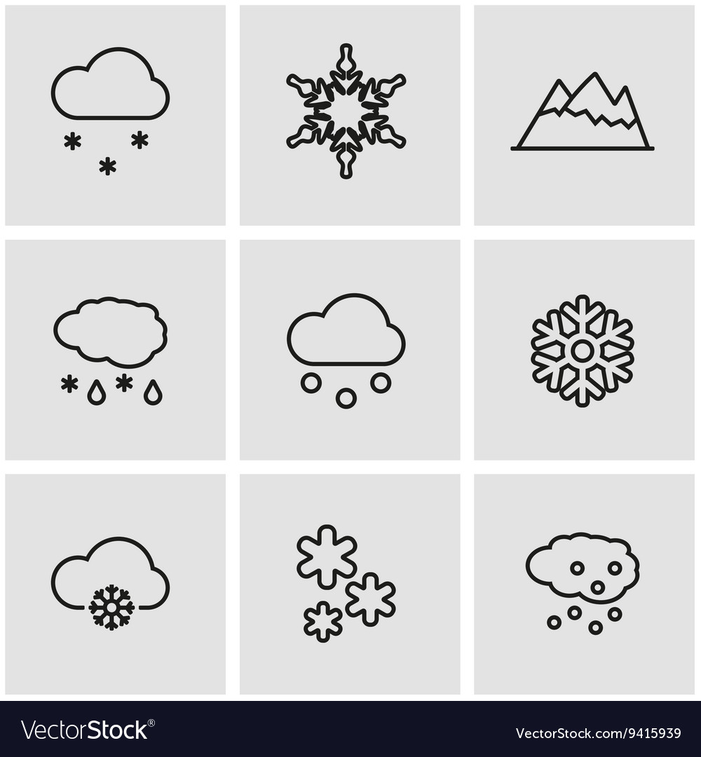 Line snow icon set