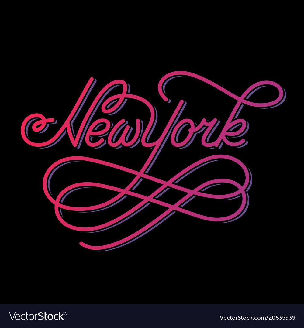 New york hand written city name