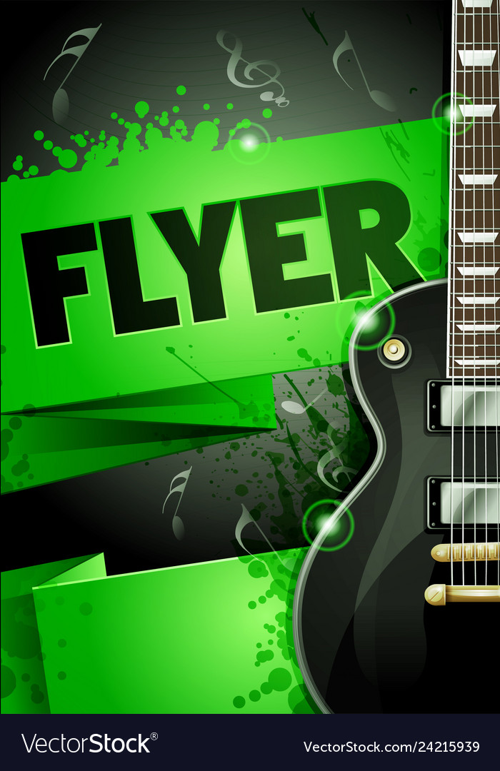 Rock Festival Party With Guitar Origami Banner Vector Image