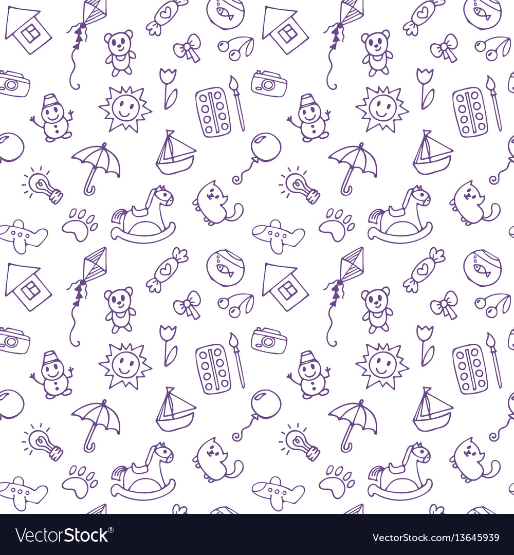 Seamless pattern for cute little boys and girls vector image
