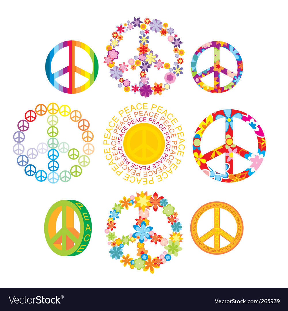 Set Of Peace Symbols Royalty Free Vector Image