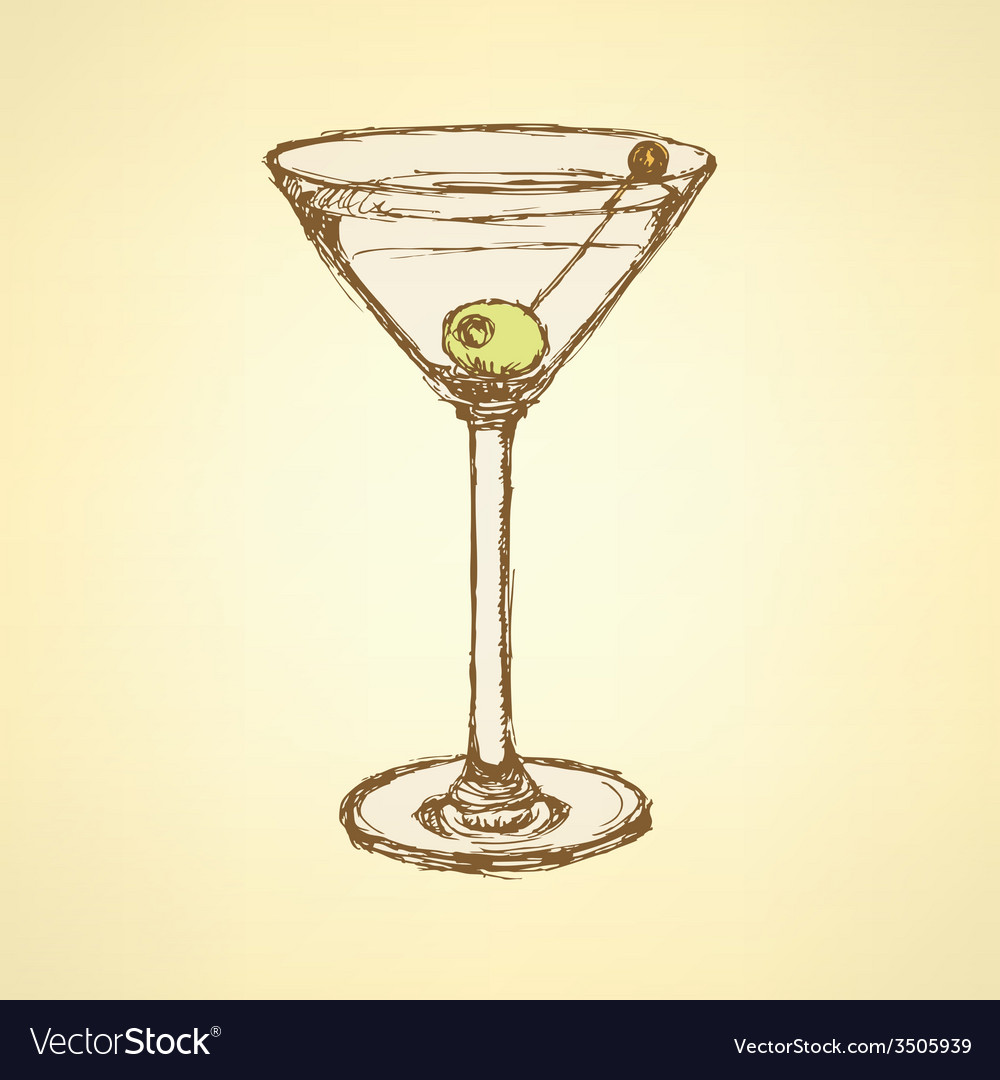 Sketch Martini Glass With Olive Royalty Free Vector Image