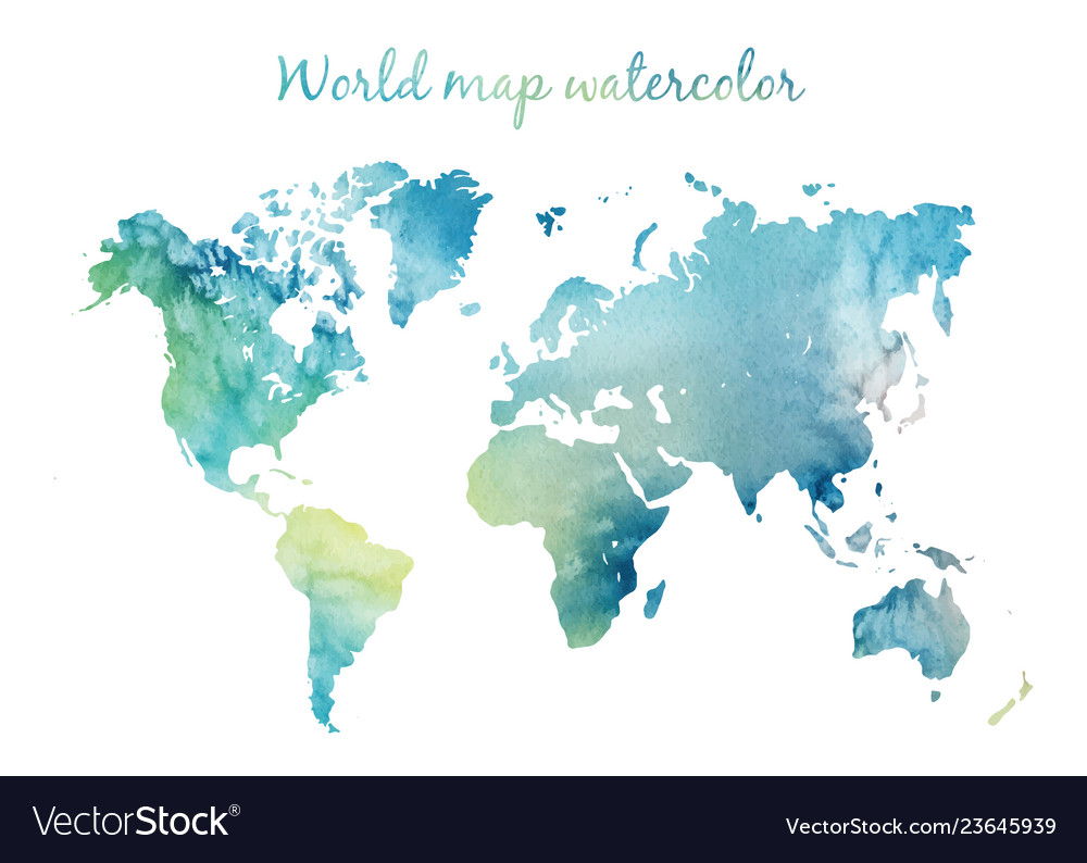 Watercolor world map in on wight background