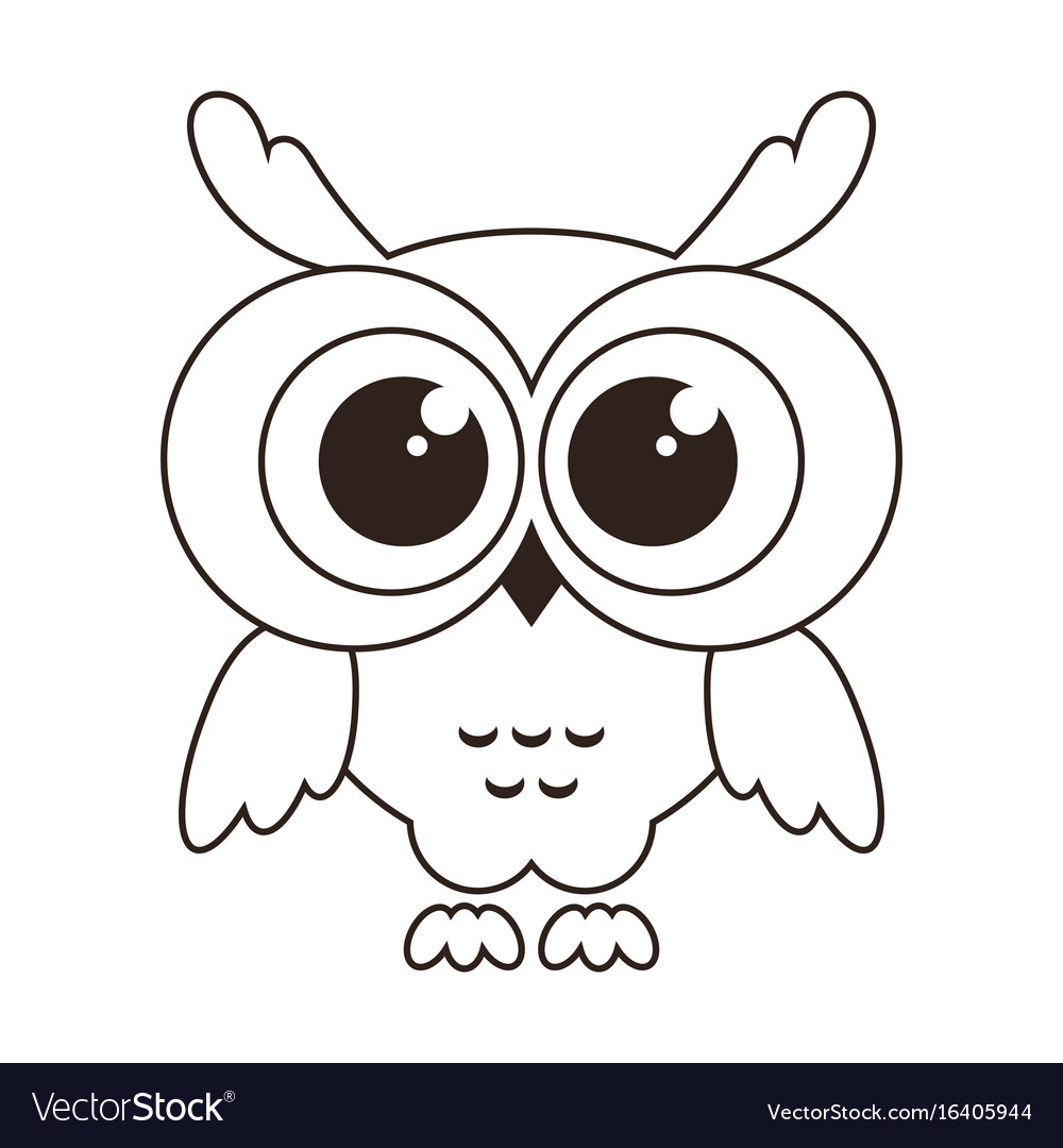 Cute owl icon isolated on white