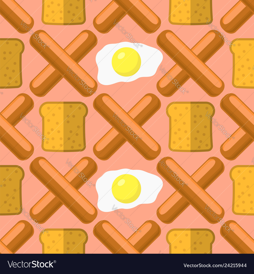 Eggs grill sausages and bread seamless pattern
