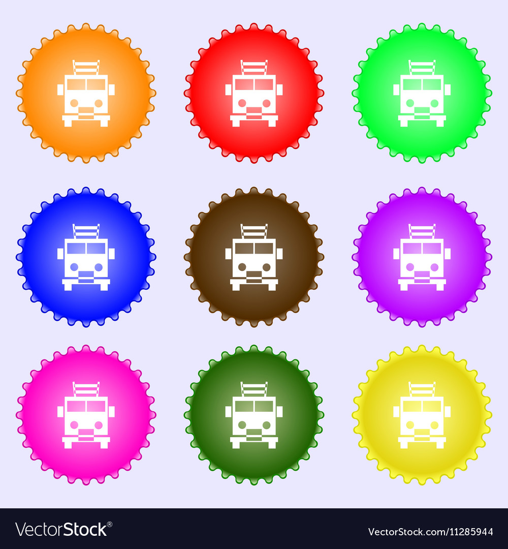Fire engine icon sign Big set of colorful diverse