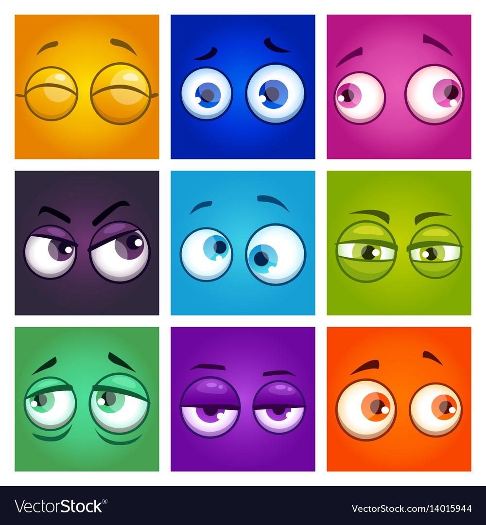 Funny colorful comic square avatars