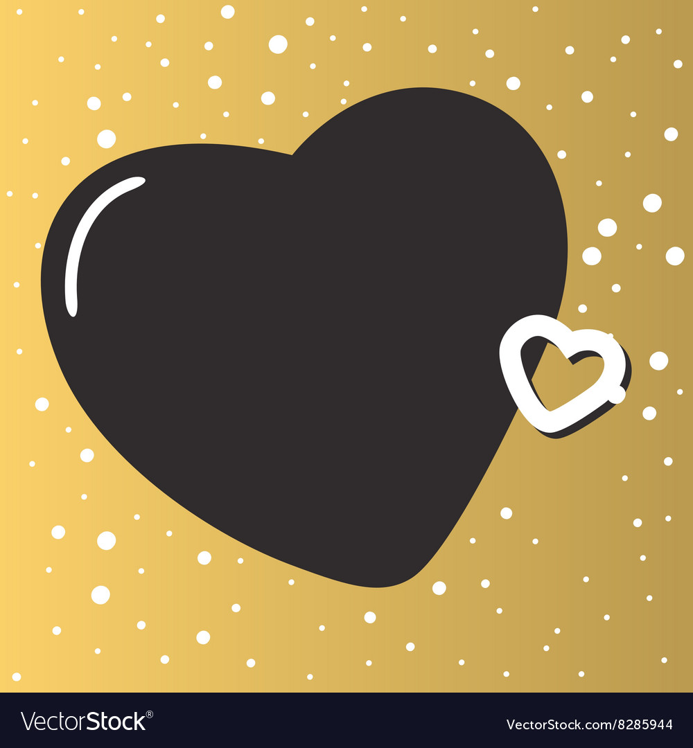 Gold background with beautiful hearts abstract vector image