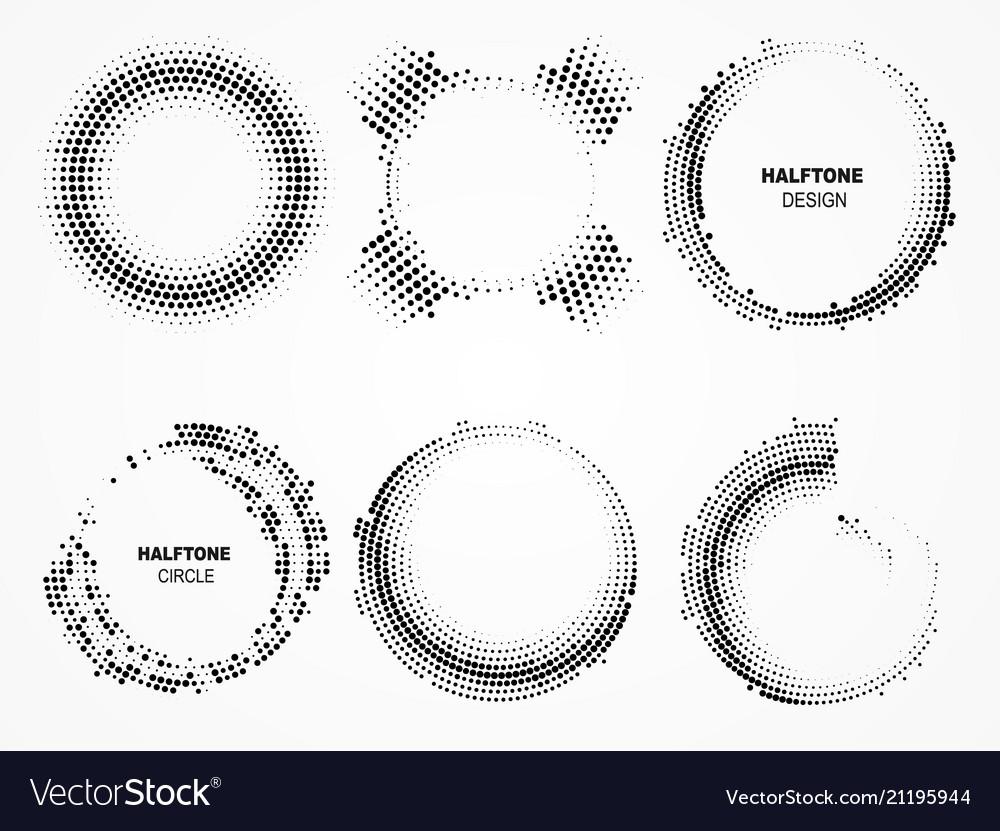 Halftone circular frame vector image