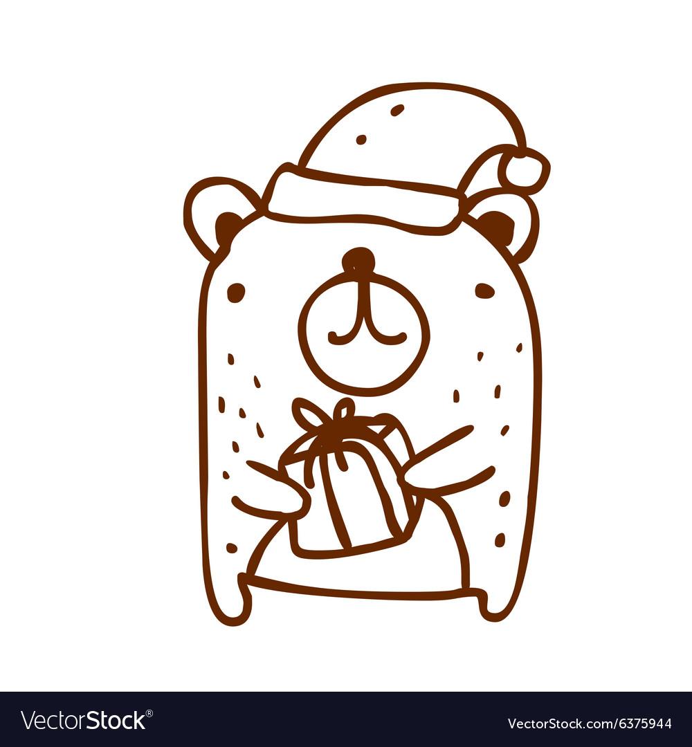 Hand Drawn Christmas Bear