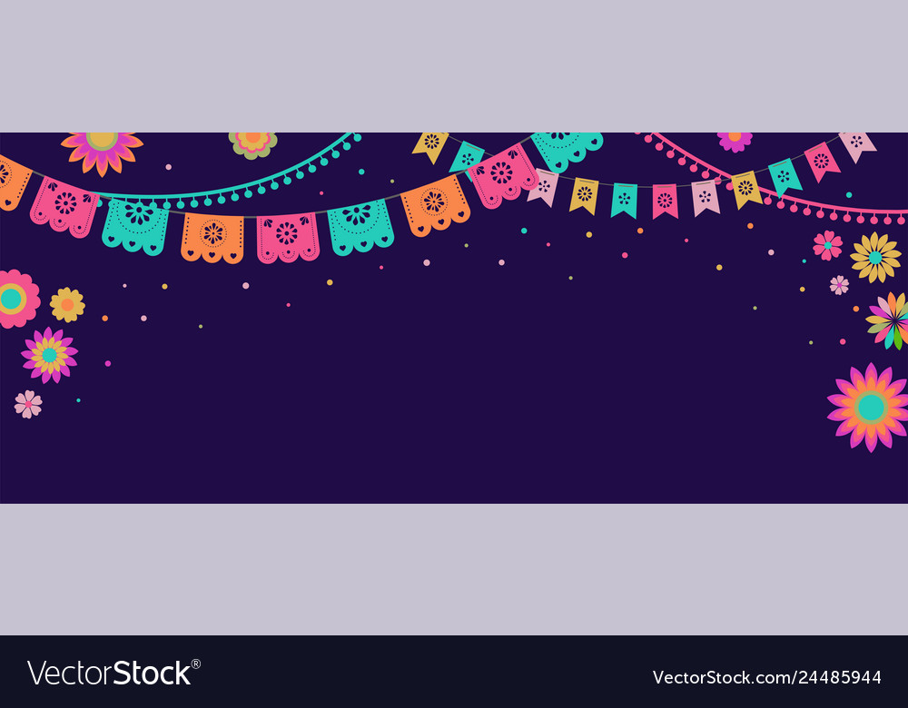 Mexican fiesta banner and poster design with flags