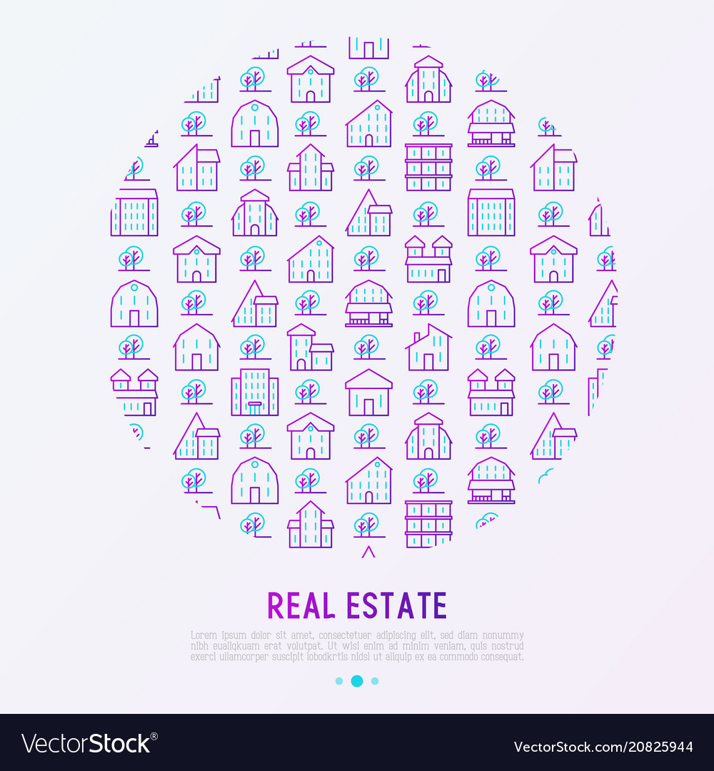 Real estate concept in circle with thin line icons