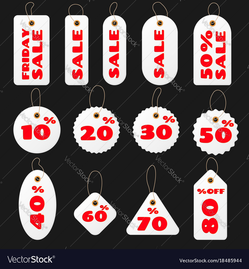 Set of white round and square sale price tags and