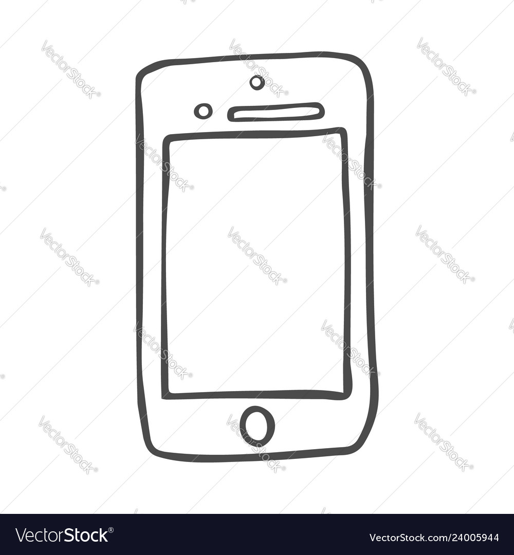 Smart phone doodle icon hand drawn sketch in