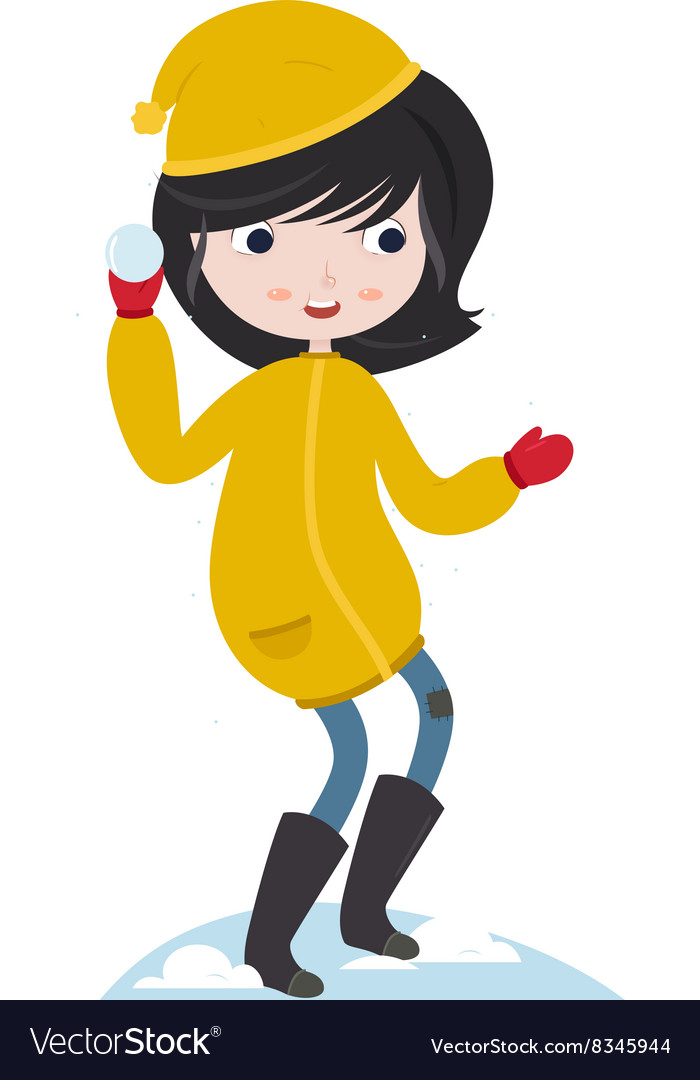 Winter fun Girl playing with snow Snow ball vector image