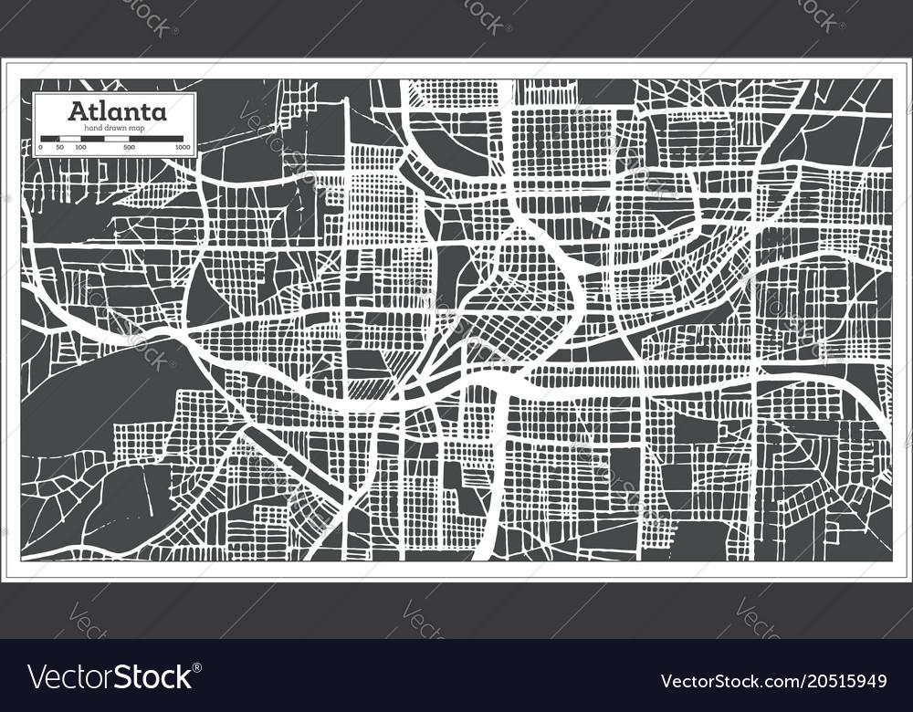 City Map Of Atlanta Georgia.Atlanta Georgia Usa City Map In Retro Style Vector Image