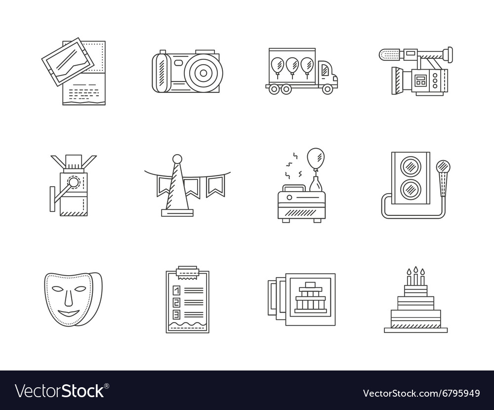 Black flat line party icons collection