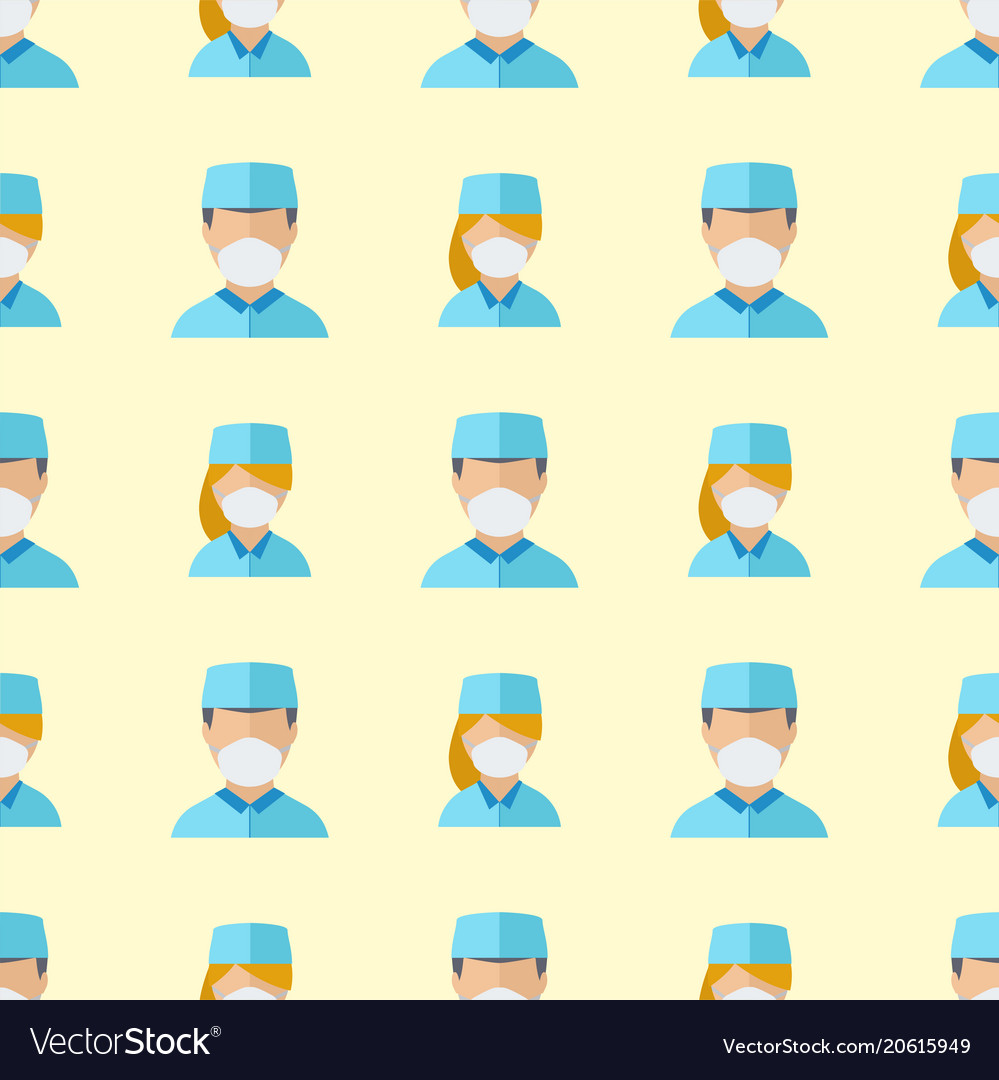 Doctors profession charactsers seamless pattern