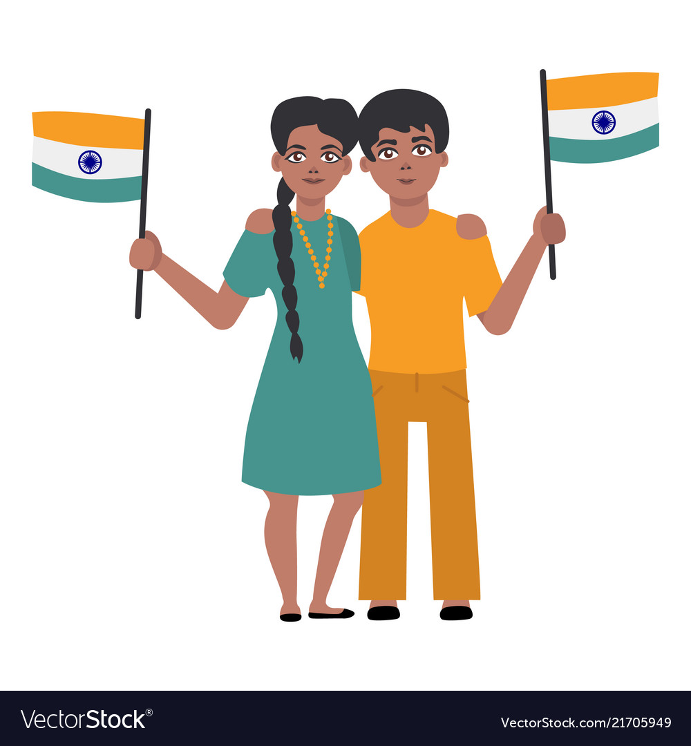 Flat indian young couple holding national flag