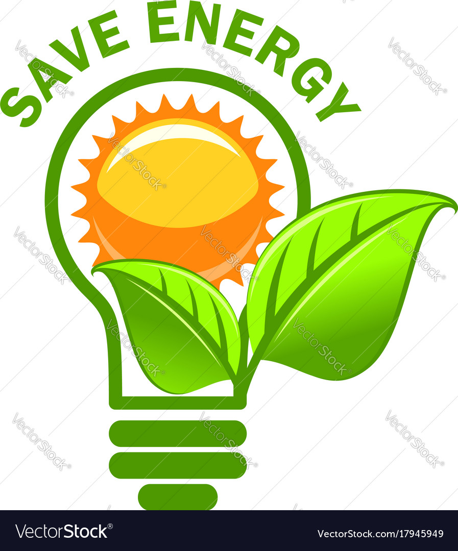 Green leaf sung and lamp save energy icon
