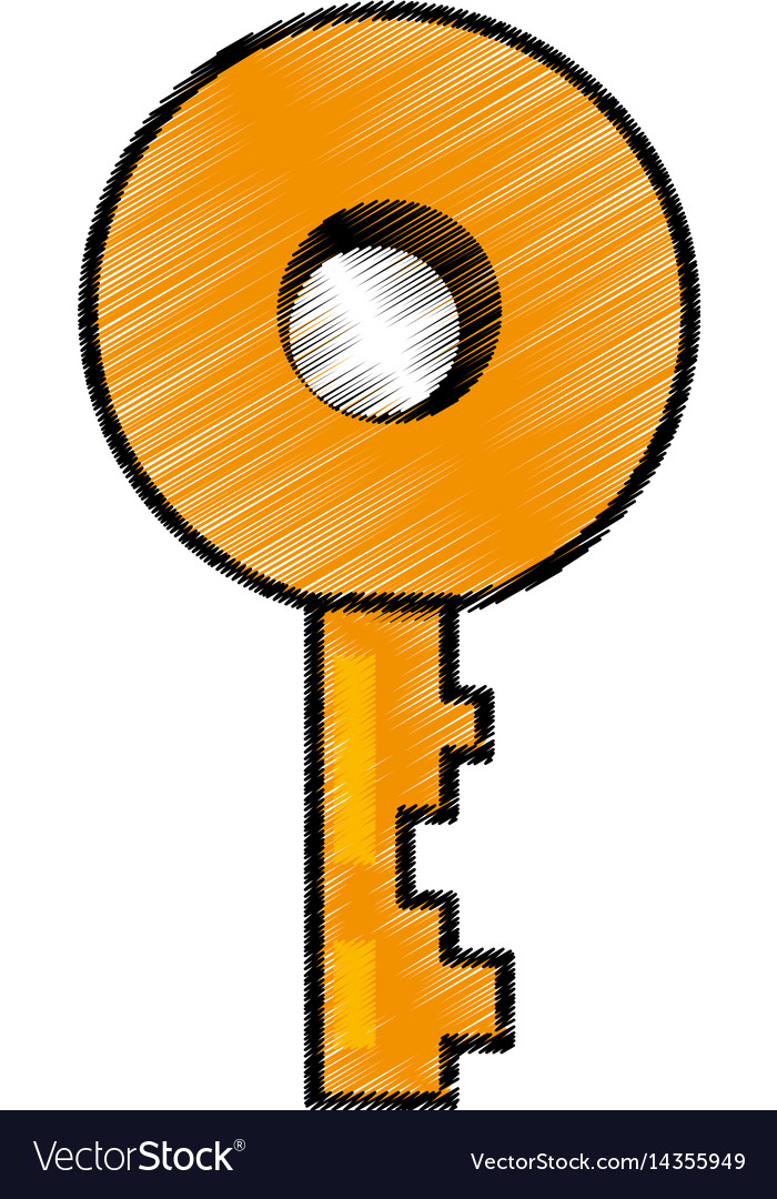 Key door lock image sketch vector image