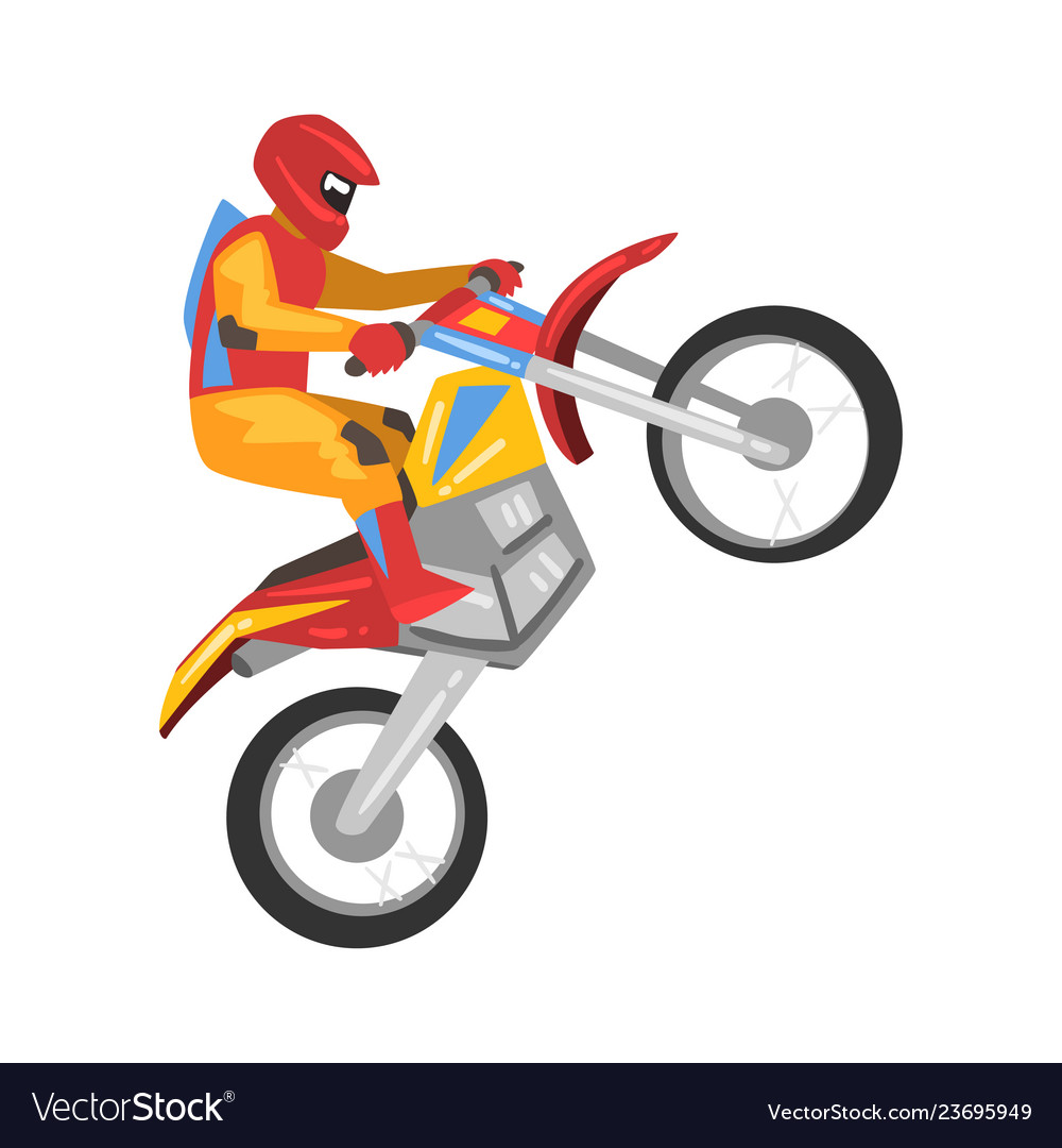 Motorcyclist driving motorcycle motocross racing