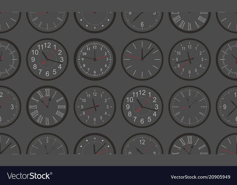 Seamless pattern with black round wall clock