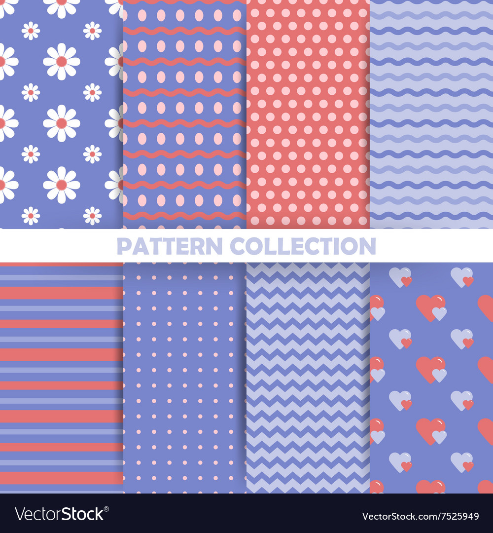 Set seamless patterns in retro style