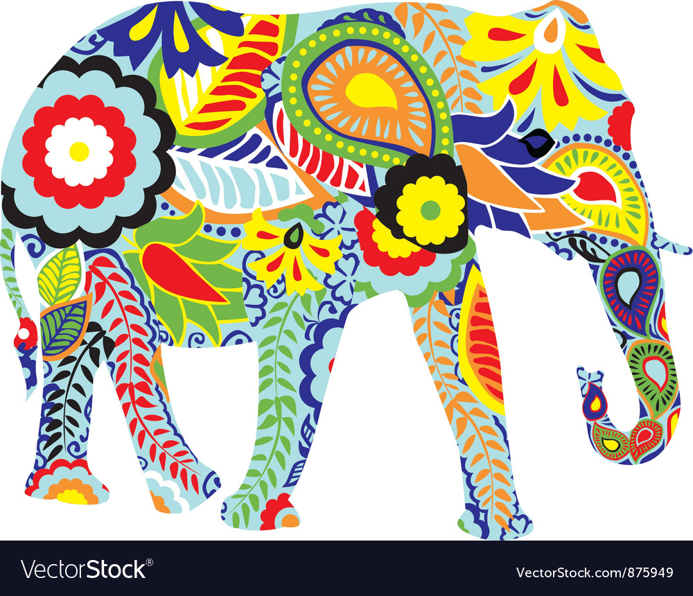 Silhouette of an elephant with Indian designs vector image