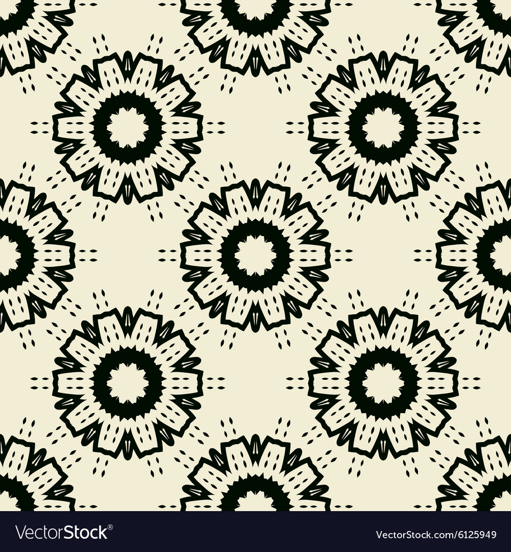 Tile Print Seamless of black stylized flowers or