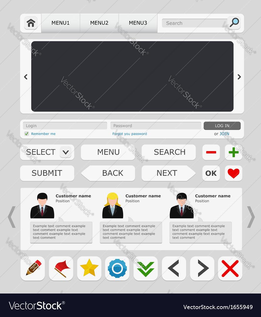 White web design elements set vector image