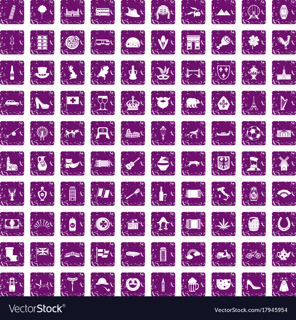 100 europe icons set grunge purple