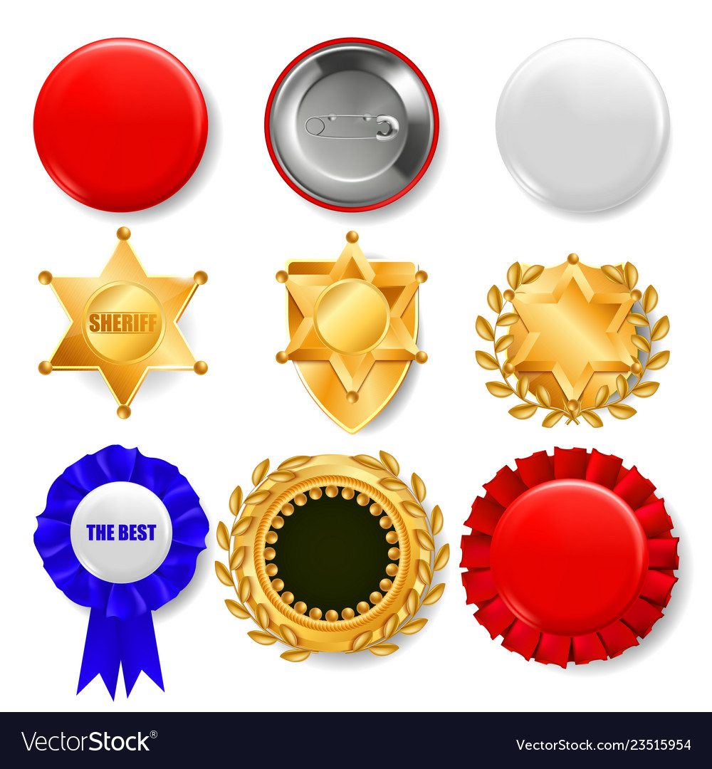 Badge set plastic and golden empty button