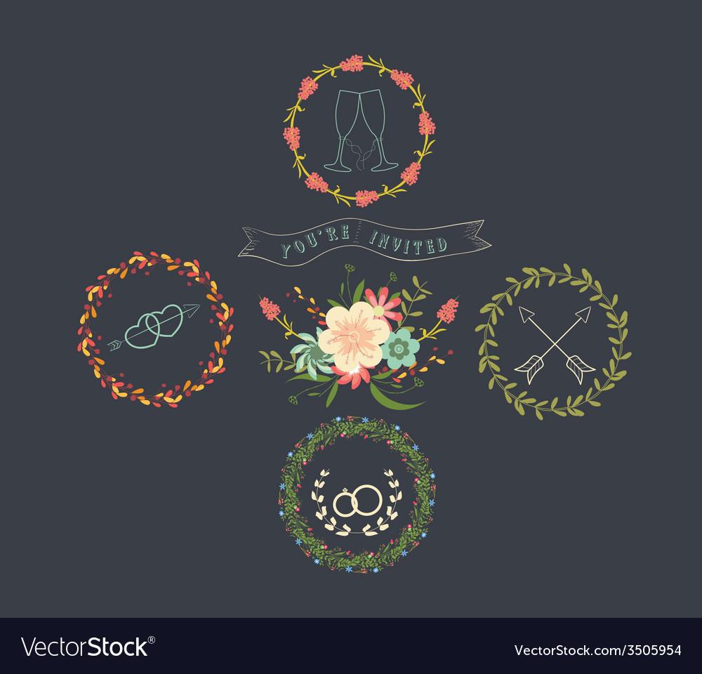 Chalkboard Natural Floral Wreaths