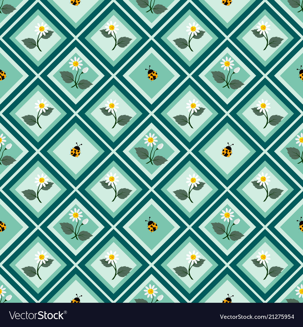 Cute flowers with ladybug seamless repeat pattern