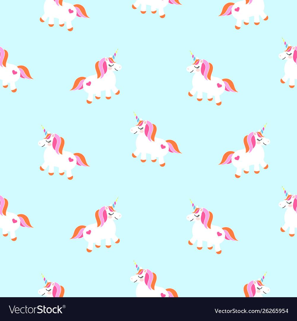 Cute unicorns sky blue seamless pattern fairytale