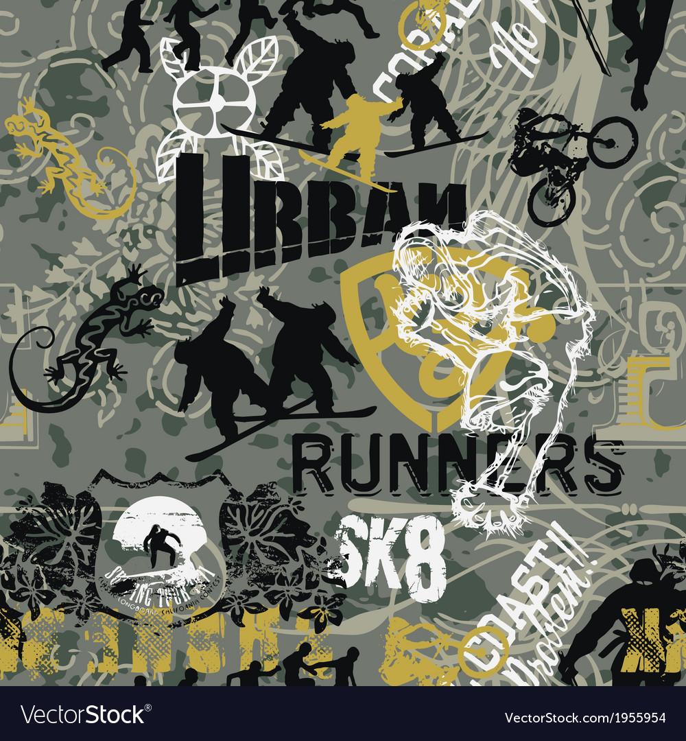 Grunge urban sports patchwork