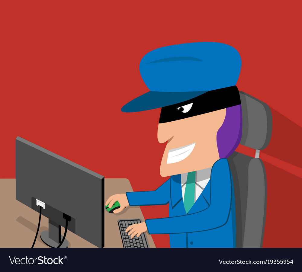 Hacker is happy while hacking desktop computer