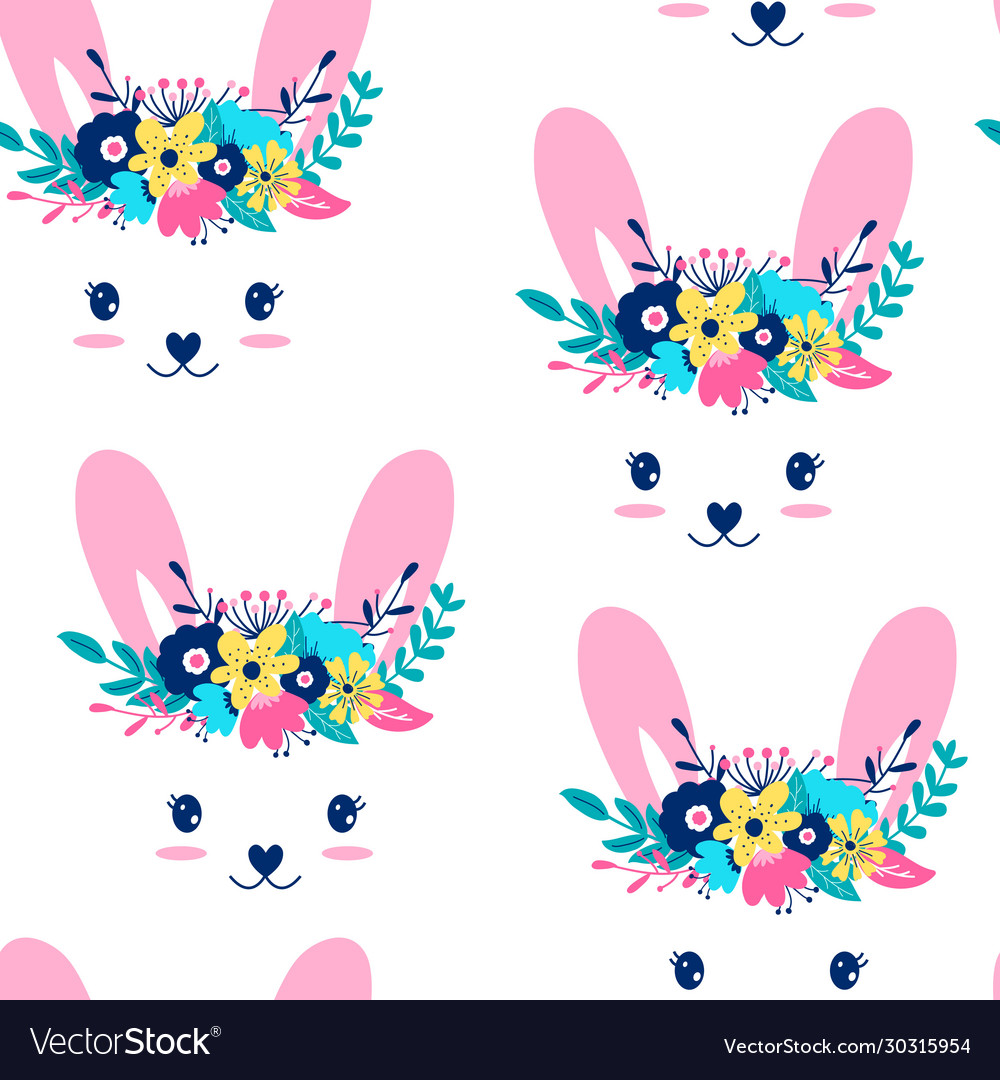 Hand drawing print design sweet bunny and flower