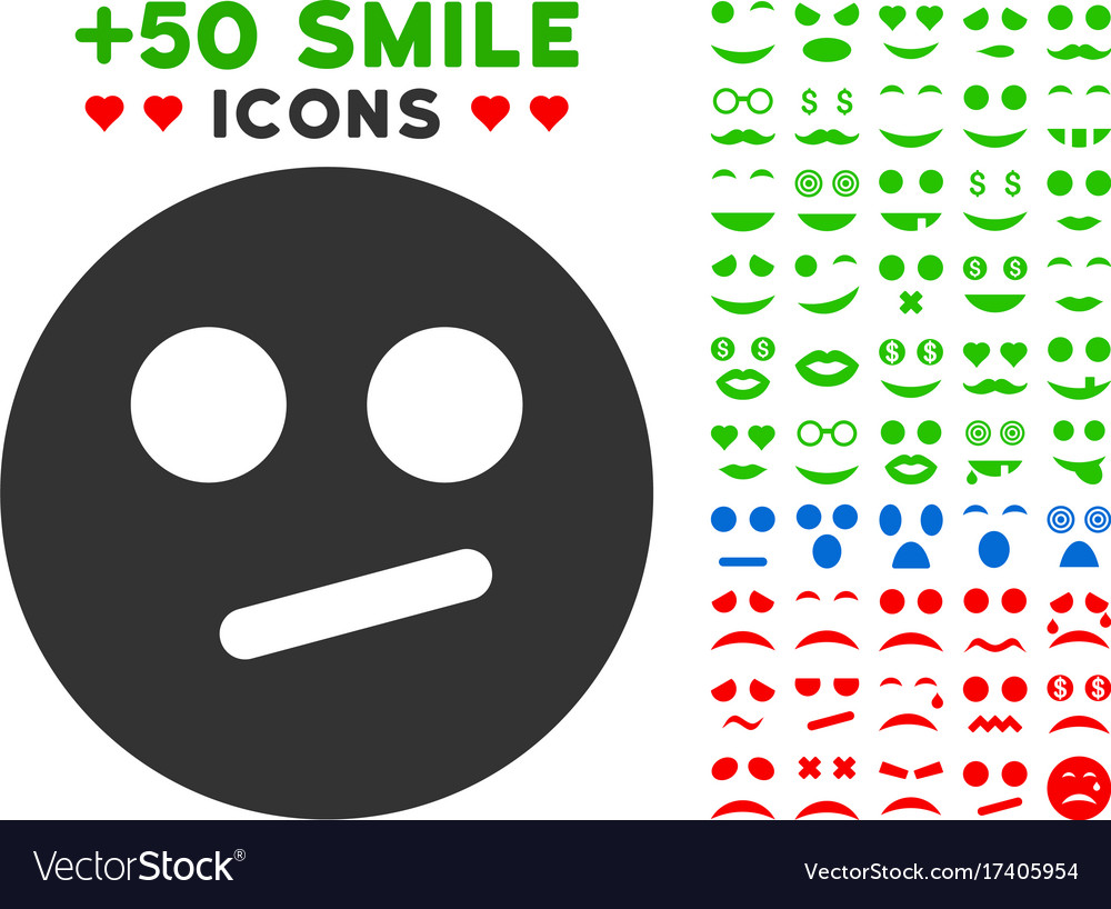 Indifferent Smiley Icon With Bonus Smiley Clipart Vector Image