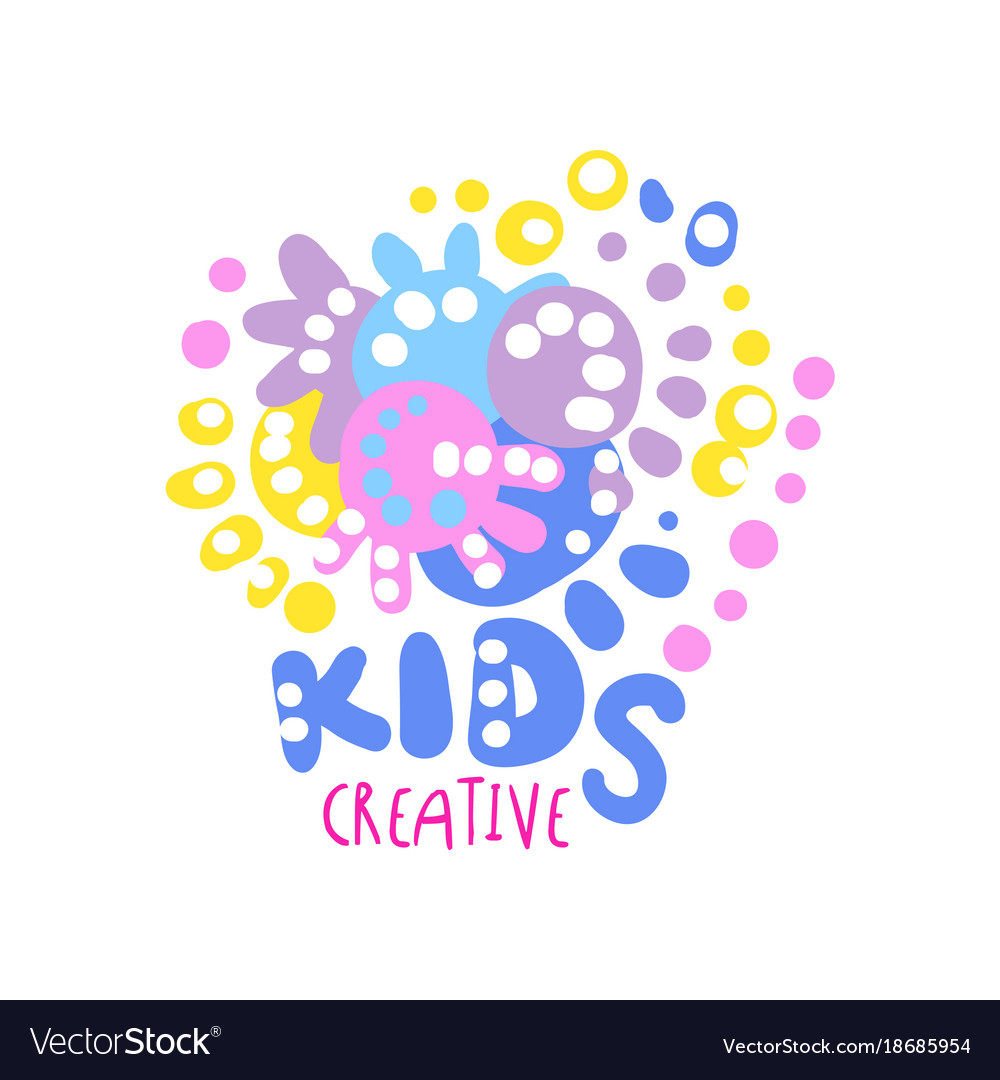 Kids creative logo colorful hand drawn labels for