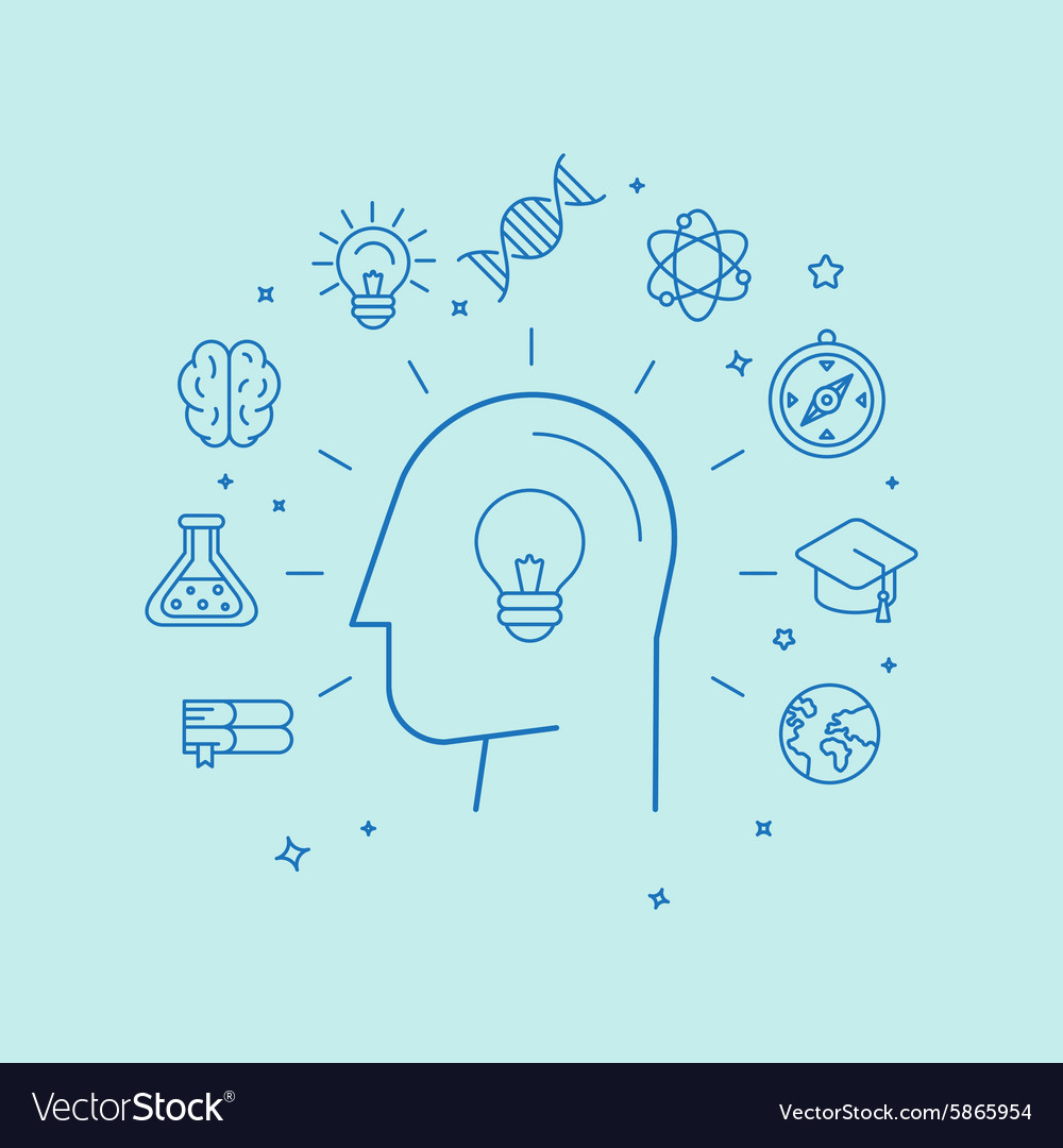 Learning and education concept in linear style vector image