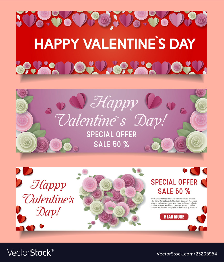 Paper cut happy valentines day sale web