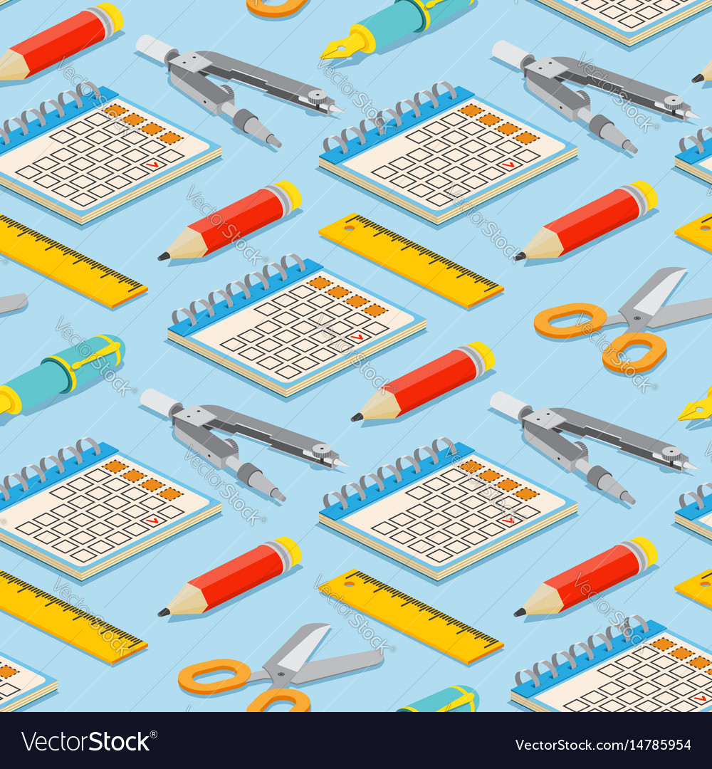 Seamless pattern with isometric pair of compasses