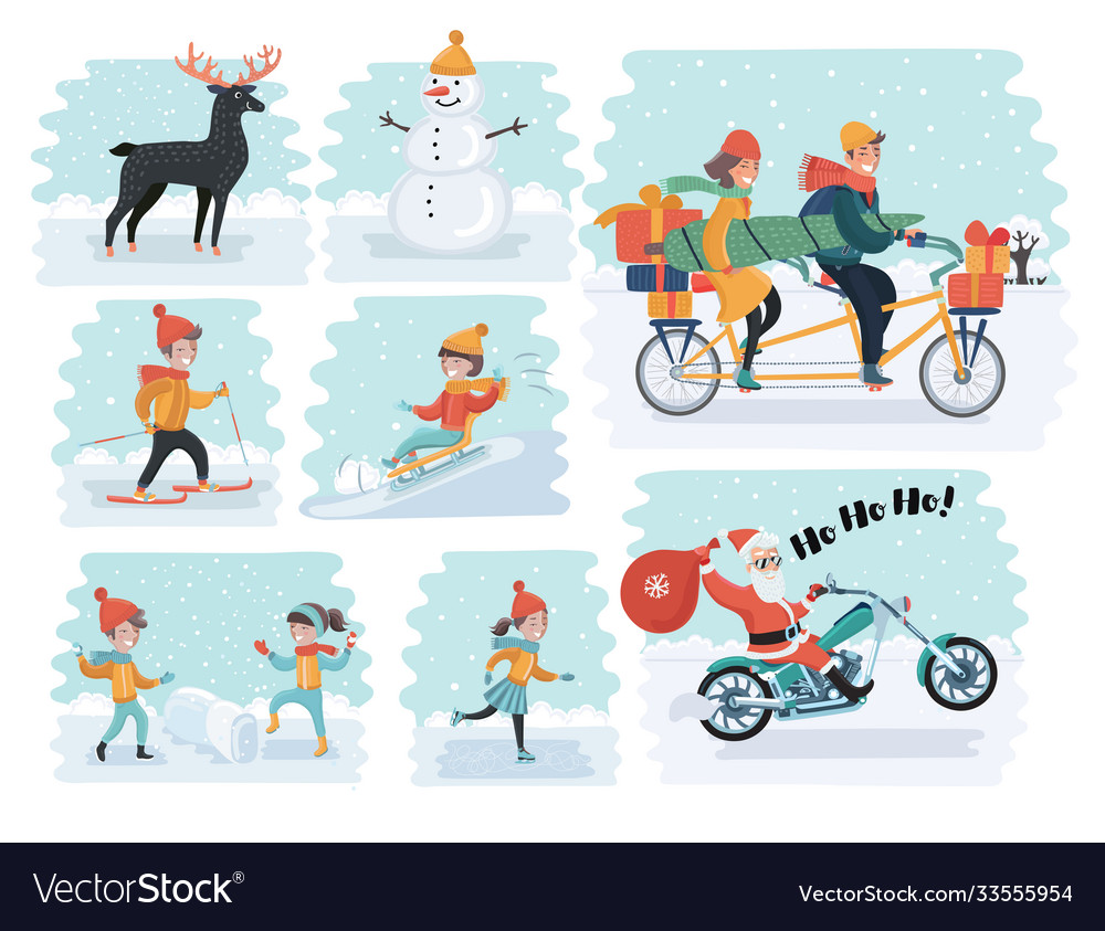 Set cartoon people in winter clothes including