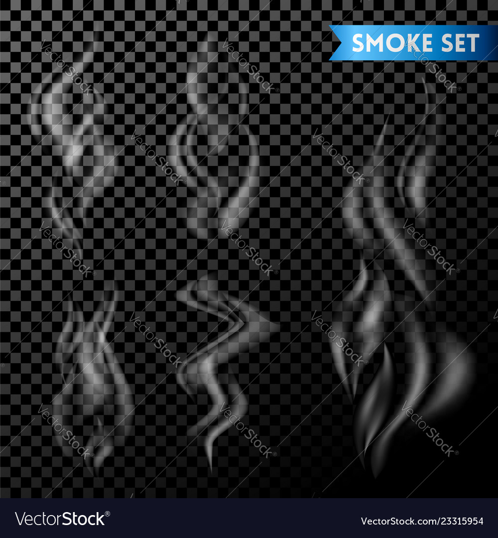 Set smoke or steam set on transparent