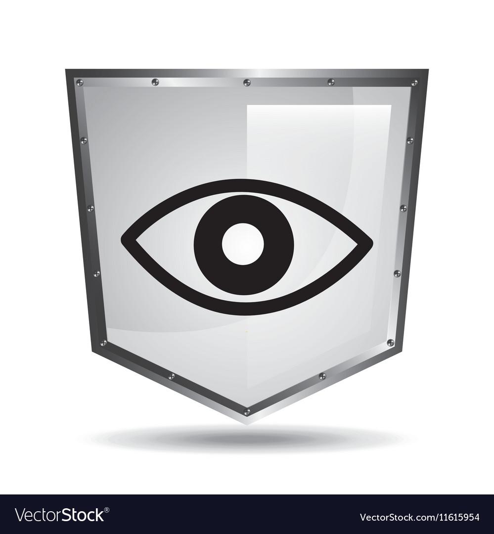 Symbol surveillance icon shield steel