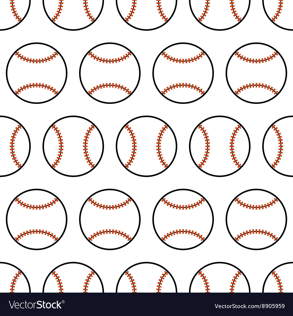 Baseball Seamless pattern with sport balls vector image