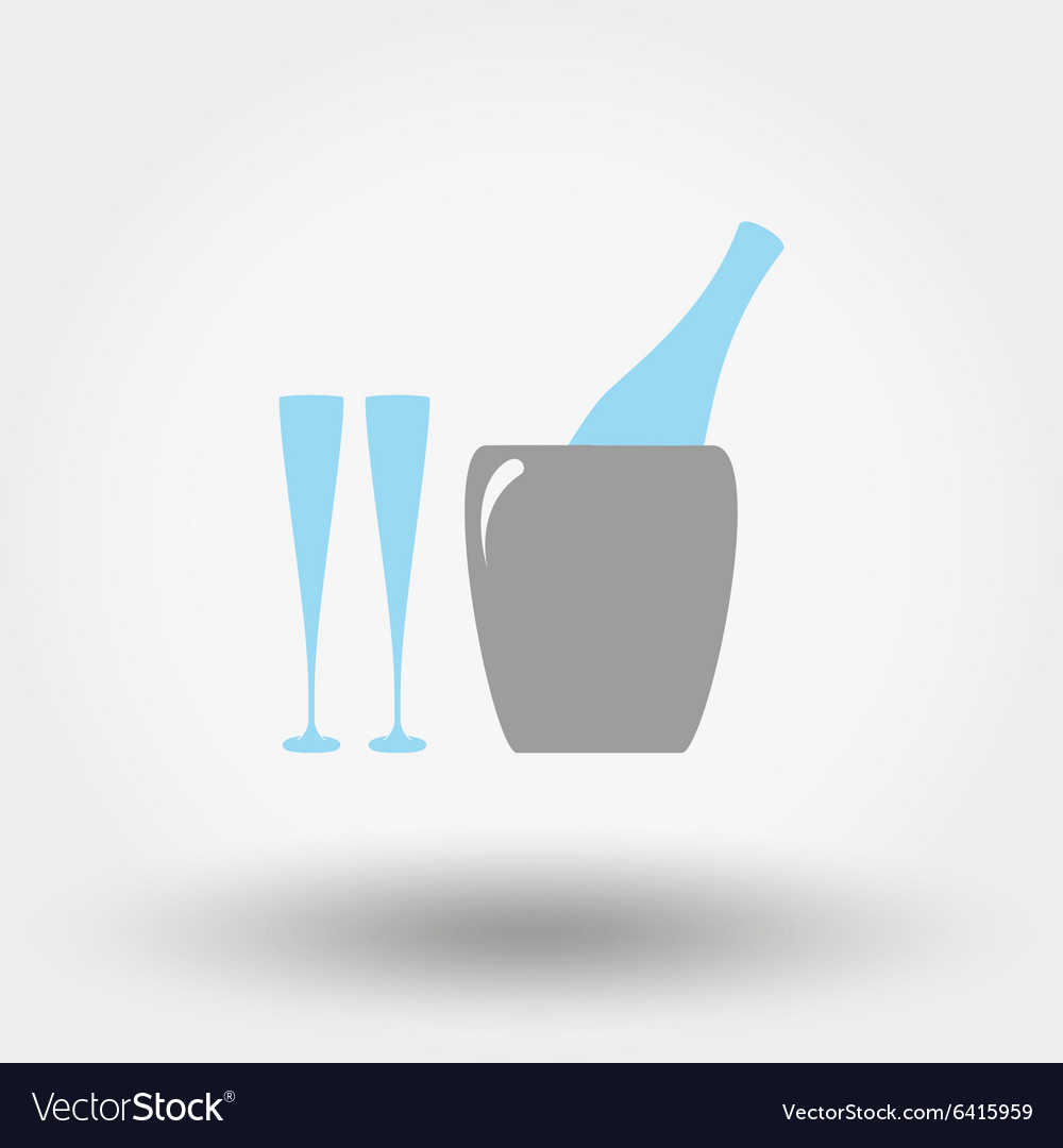 Bottle in ice bucket and glasses icon